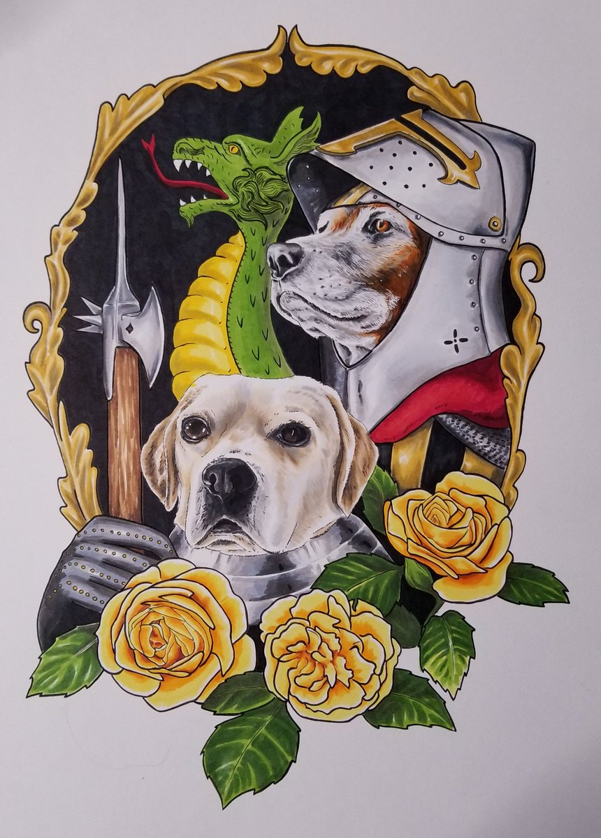 On the subject of armor: here is a just completed pet portrait featuring some Maximilian inspired armor. I would love to do more fantasy/medieval inspired 🐶🐱🐰🐸 portraits! Knights of the Dragon Court ⚔🐉⚔ #ArtistOnTwitter #illustration #fantasyart #petportrait