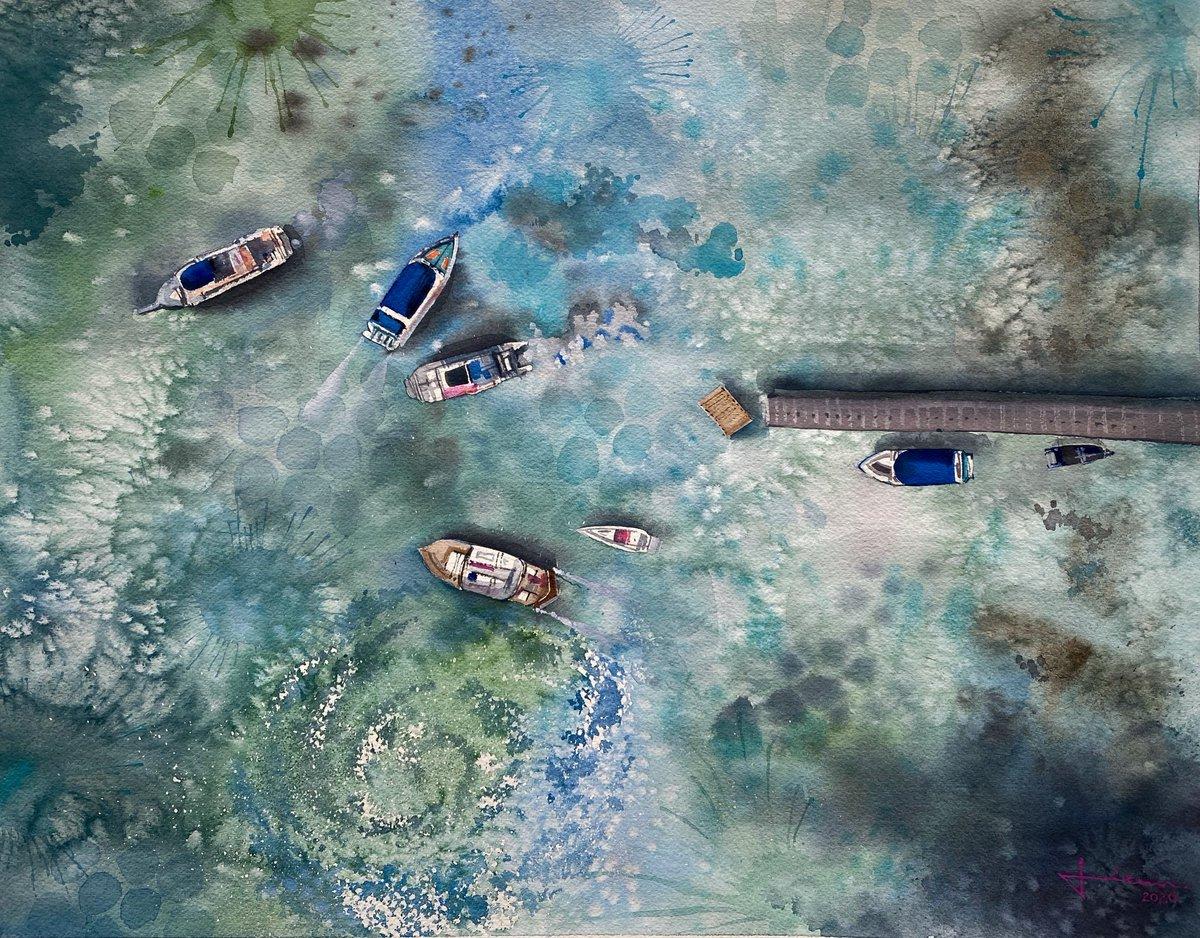 "'DOCK'  Watercolour on paper  Size: 16""X 20""  #Watercolor #painting #art #artist #contemporaryart #drawing #sketching #illustration #watercolour  #boat #ocean  @winsorandnewtonpic.twitter.com/NSTMBGUbHn"
