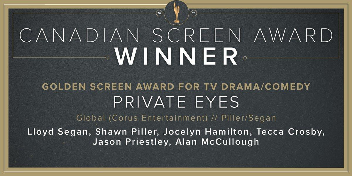 Congratulations to #PrivateEyes @GlobalTV @CorusPR, a winner of the Golden Screen Award for TV Drama/Comedy. #CdnScreenAwards