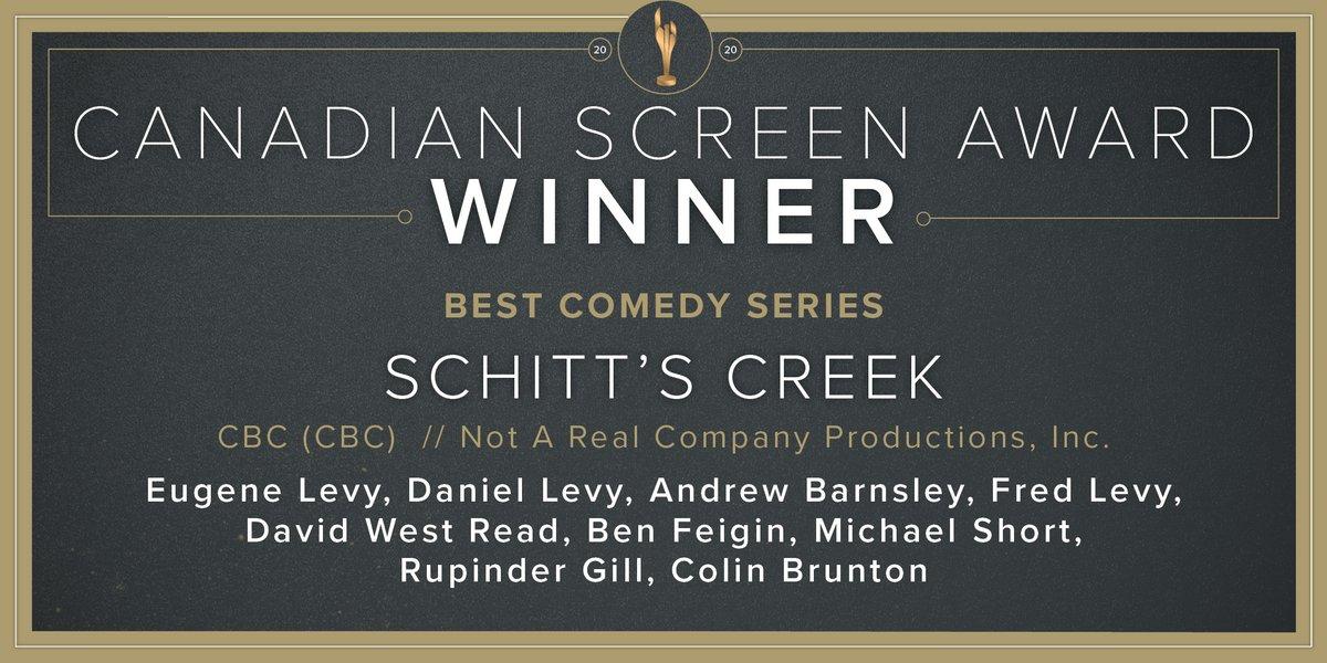 Congratulations to @SchittsCreek @CBC @cbccomedy @CBC_Publicity, winner of Best Comedy Series. #CdnScreenAwards <br>http://pic.twitter.com/Z0T1V5BtnY