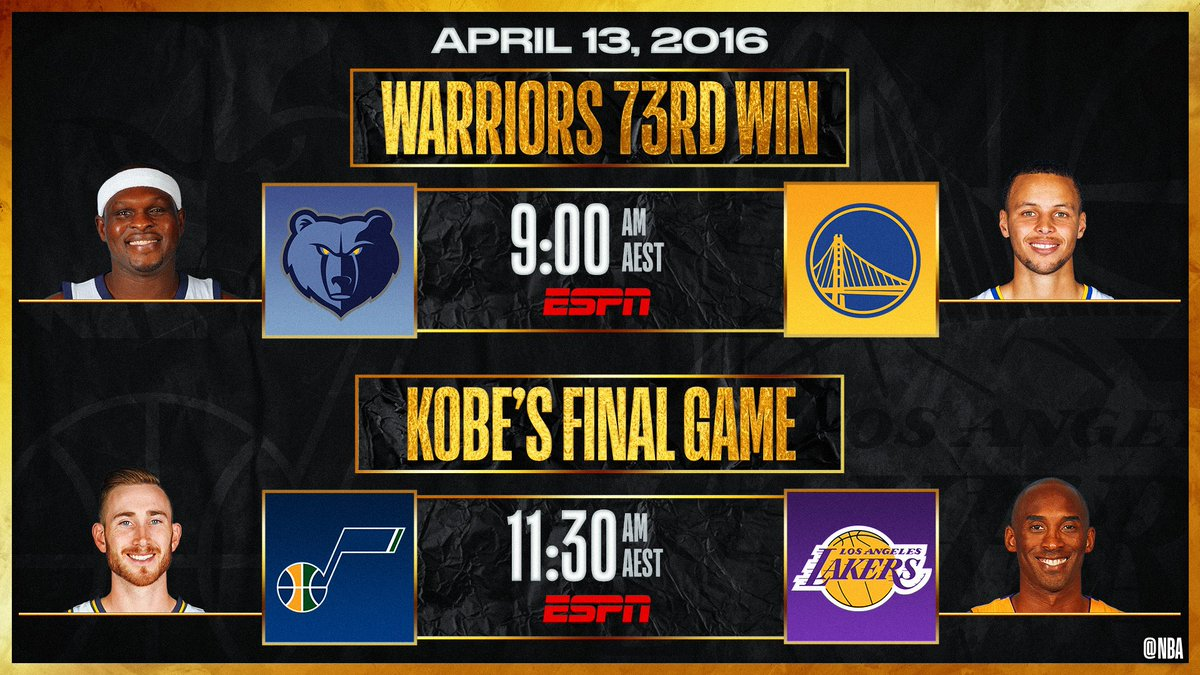 Today on @ESPNAusNZ 📺  LIVE NOW - @memgrizz vs. @warriors: Dubs win their 73rd game of the season  11:30am AEST - @utahjazz vs. @Lakers: Kobe scores 60 points in his final NBA game 🏀 https://t.co/ePoA1HfZss