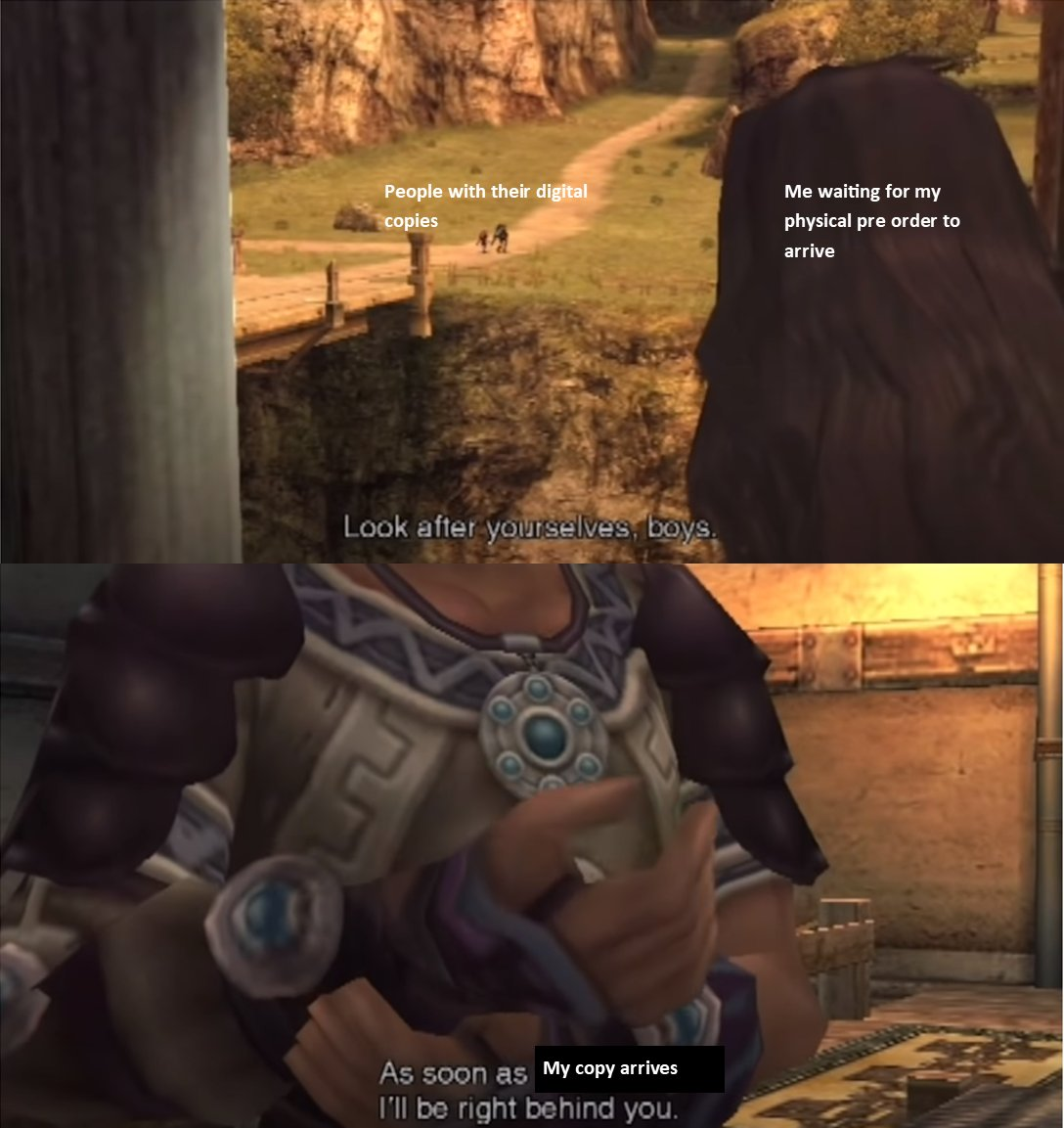 I have a digital copy but this meme from the xenoblade subreddit is so funny <br>http://pic.twitter.com/YTPFPgtYhs