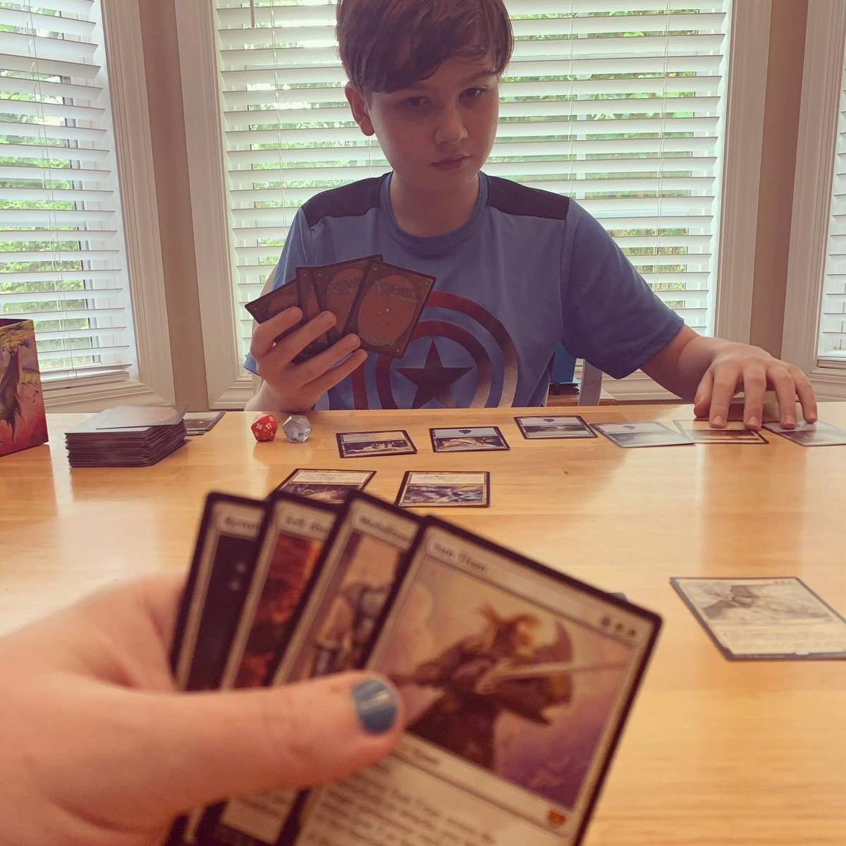 My son is super into the new Magic set so we're playing every day, whether he's home or away. #mtg #ikoria