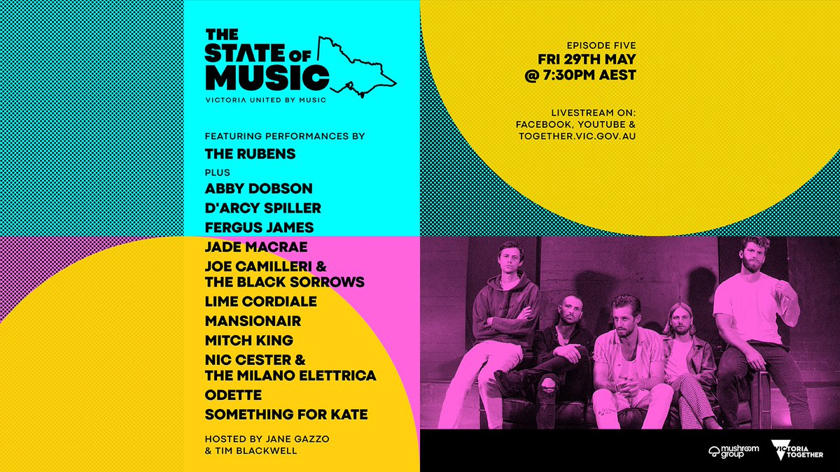 The State of Music ep. 5 streams tomorrow night! Artists include The Rubens, Joe Camilleri & The Black Sorrows, Lime Cordiale, Mansionair, Odette, Something For Kate + more https://t.co/GcvMYOlmbj @therubensmusic @theblacksorrows @limecordiale @mansionair @OdettesOdyssey @SFKband https://t.co/lAaIXHYA9C