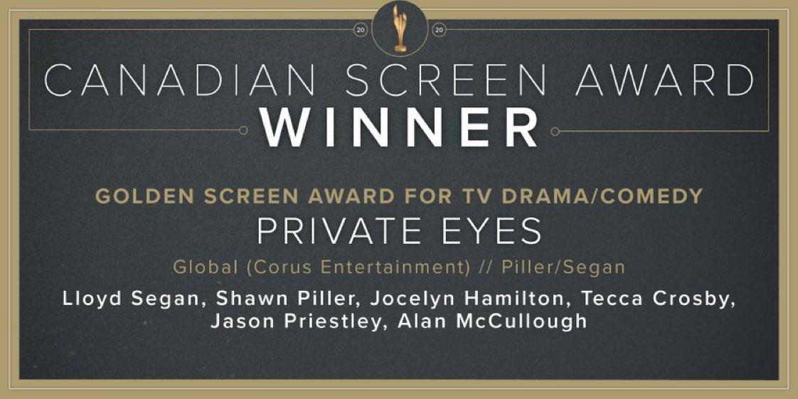 Congratulations to #PrivateEyes, a winner of the Golden Screen Award for TV Drama/Comedy! 👏🏻 @TheCdnAcademy @Jason_Priestley @CindyMSampson
