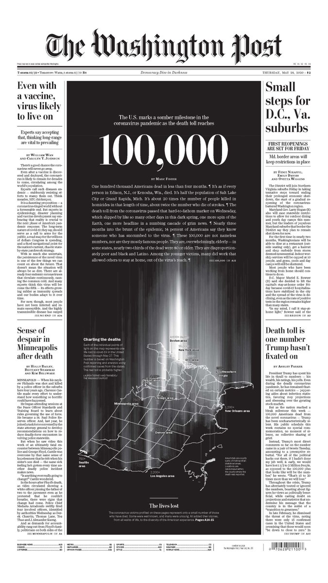 U.S. coronavirus death toll surpasses 100,000 https://t.co/hzxBudsUec  Tomorrow's front page. https://t.co/97HD17o1Gg