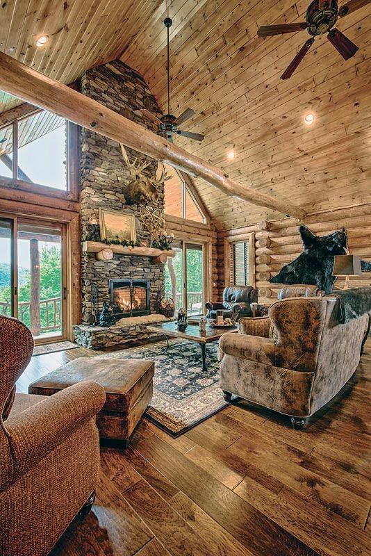 House & Home - Trendy Decorating Ideas   Top 60 Best Log Cabin Interior Design Ideas - Mountain Retreat Homes Read More: http://zpr.io/tBaCZpic.twitter.com/eCAeuTIKVa