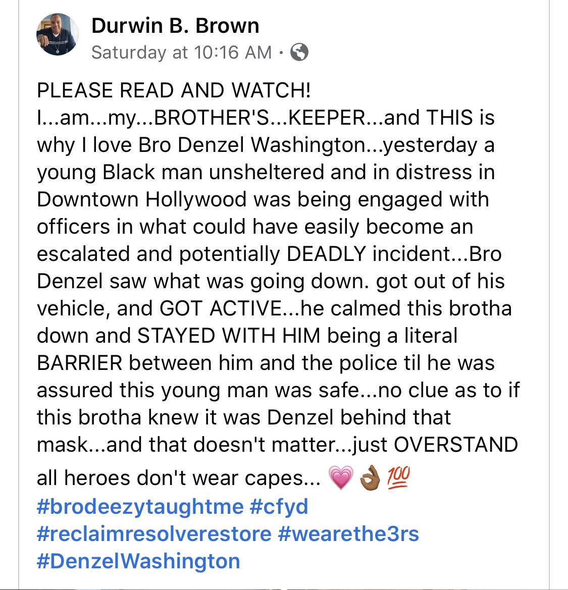 Denzel Washington saved a black man from being shot by LAPD. We all know how shit would've went down if Denzel didn't notice https://t.co/4MFN9DPNQ1