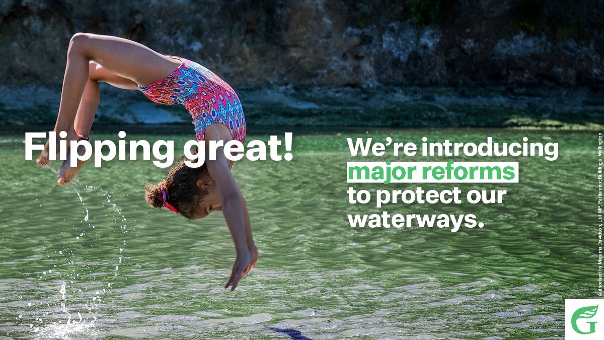Today in @NZGreens revolutions: The strongest ever protections of our waterways just announced ⚡️💚🐟 Thisll help ensure the next generation can swim in the rivers of Aotearoa 🌏💚 @EugenieSage
