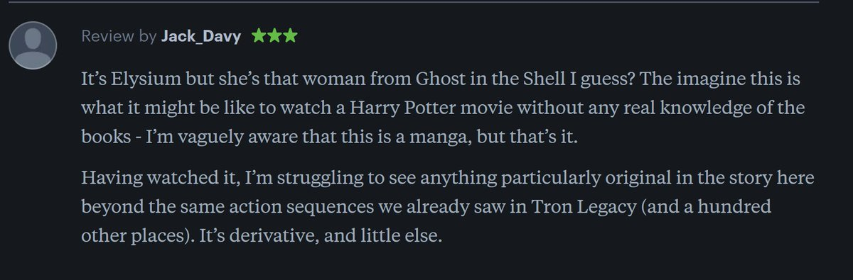 Having a look at the Letterboxd reviews for Alita Battle Angel and this is one of them. I have to admit, I laughed. #AlitaBattleAngel #BCM325<br>http://pic.twitter.com/GUjEmV37GN