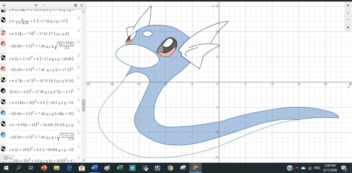 Gunanya belajar #kalkulus : untuk bisa gambar #pokemon #Dratini .  Now we know why we learned #calculus in the college, in order to draw a pokemon perfectly. #math -#mathisfun   #learning #newnormal #skill when #COVID19 in #Jakarta #Indonesiapic.twitter.com/uIHyplUrvm