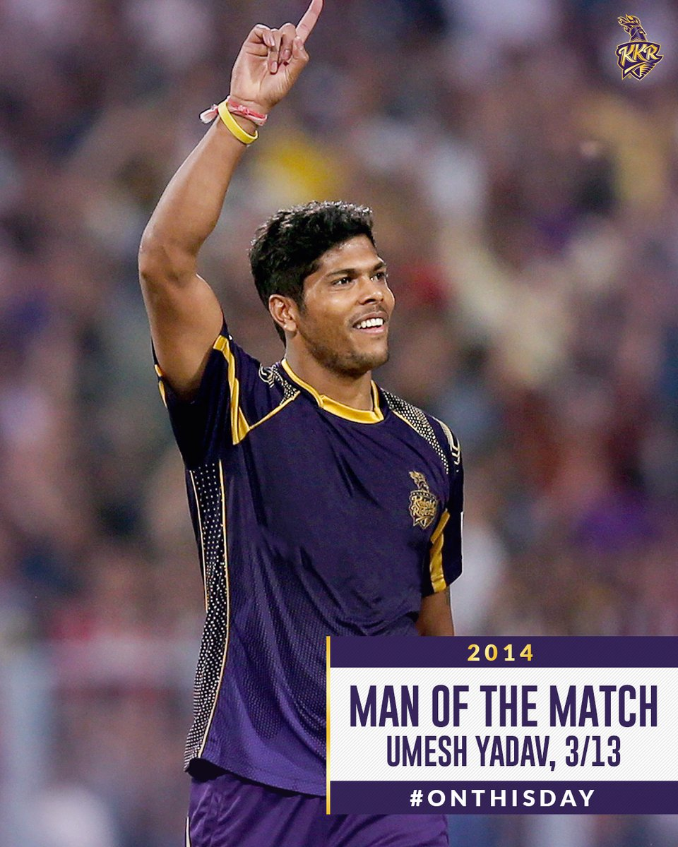 #OnThisDay in 2014  Win on th by !  The Knights  outclassed  @lionsdenkxip to book a  in the finals!  @y_umesh produced a  spell to win it for us! Do you remember where this match was played at?  #KKR #KorboLorboJeetbo #Cricket #KKRvKXIP #IPL #ThisDayThatYear<br>http://pic.twitter.com/oavPXnTJyo