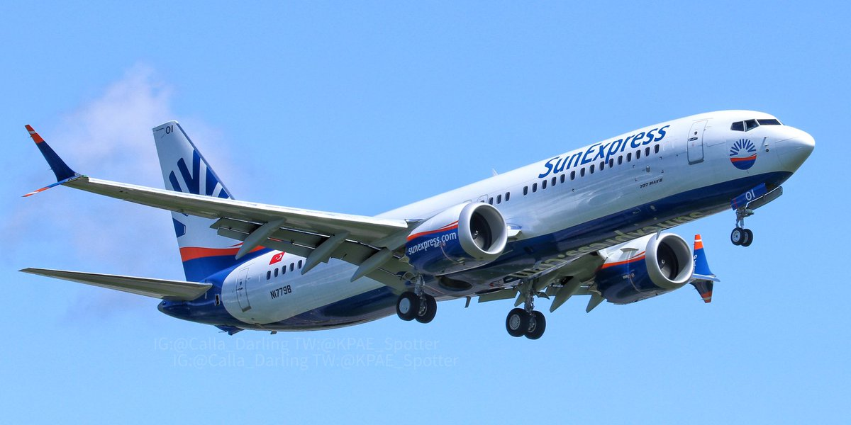 Boeing 737 Max 8 test flight of #SunExpress TC-SOI (Boeing test reg N1779B). BFIPAEBFI as flight BOE301. Pics from 15 May 2020 at PAE. #Boeing #737Max #BoeingMax #737Max8 #B737 #SunExpress #PAEpic.twitter.com/ZGPYgA3RtA – at The Boeing Co.