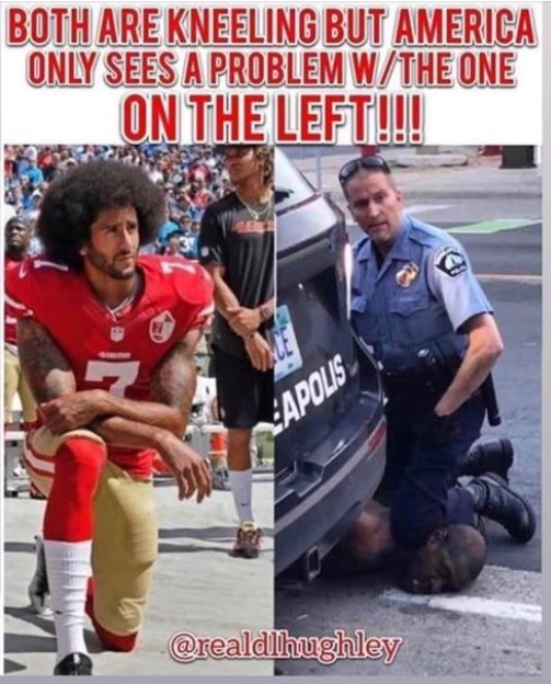 Disturbing to note that #Trump made a big deal out of a #ColinKaepernick taking a knee to protest #PoliceBrutality, but when a police officer takes a knee on #GeorgeFloyds neck and kills him Trump has not uttered a word about this shocking incident.