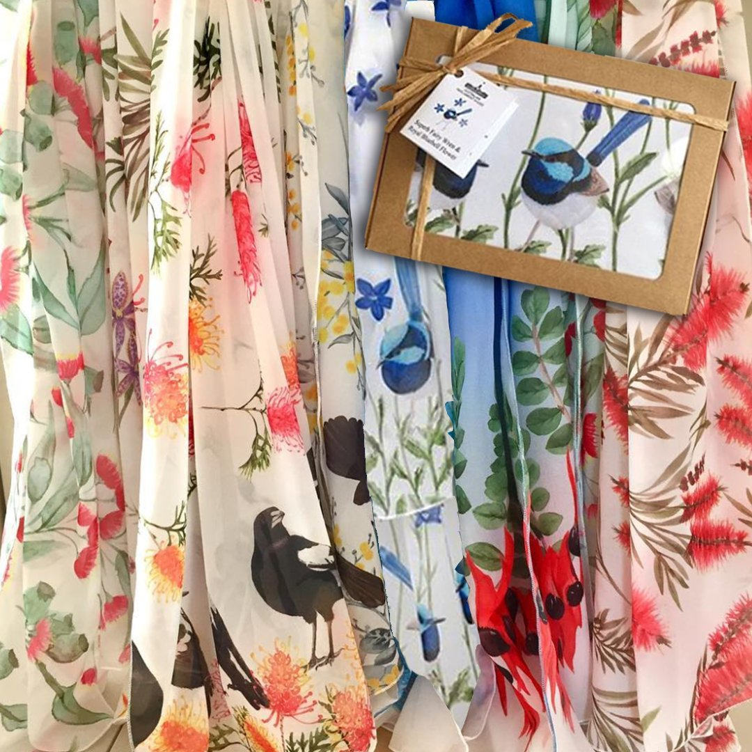Looking for an easy-to-post gift? These gorgeous handmade scarves celebrate Australian flowers and birds. Superb Fairy Wrens with Royal Bluebells, Canberras floral emblem, is exclusive to The Parliament Shop. $55.00 plus $8.95 postage. Email parliament.shop@aph.gov.au
