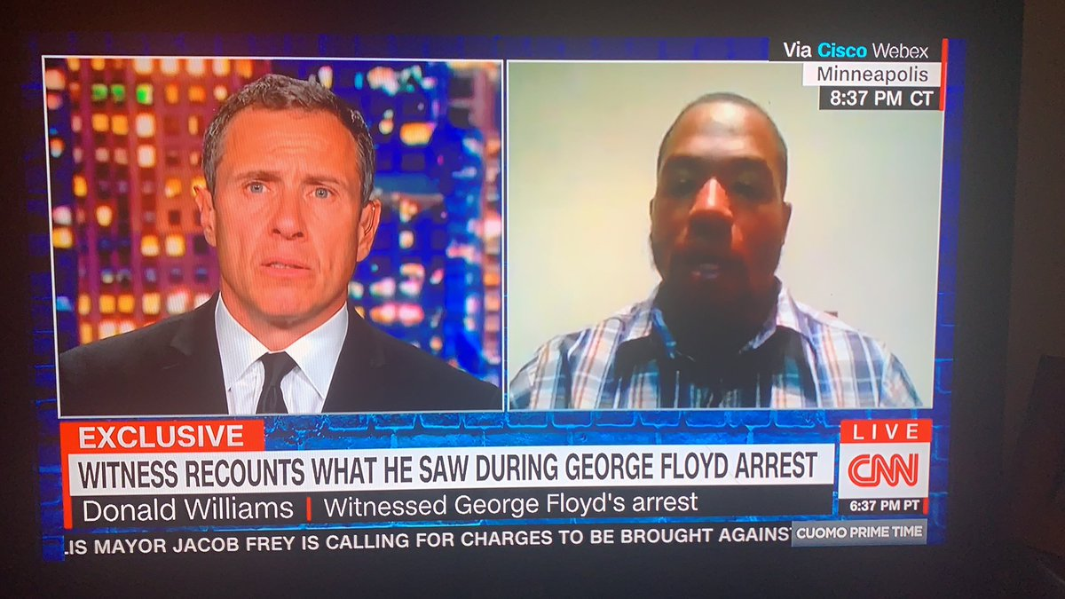 """Thank you Donald Williams,  trained MMA, witness to #GeorgeFloyd murder, for sharing what you saw. Your interview on @ChrisCuomo is heartbreaking, powerful. """"They wanted to kill him..."""" #JusticeForGeorgeFloyd<br>http://pic.twitter.com/e0kzjXiPcZ"""