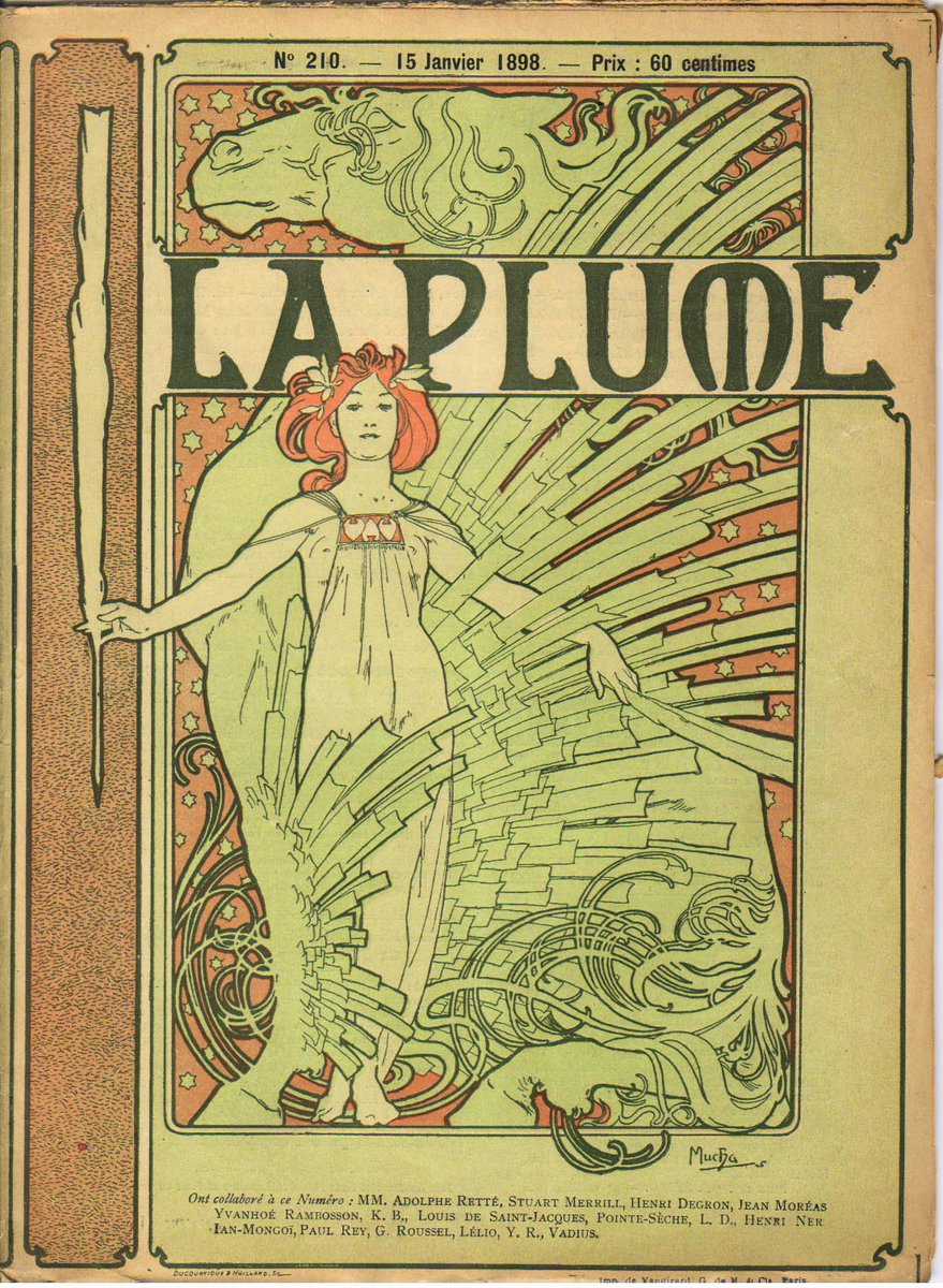 Cover composed by Mucha for the french literary and artistic Review La Plume, 1898 #artnouveau #czechartpic.twitter.com/9qxG22oTL9