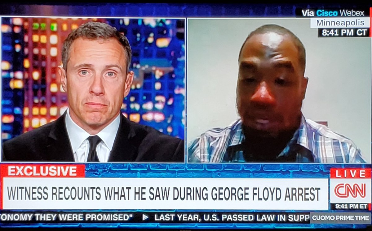 Man gave a powerful eyewitness account to the police killing of #GeorgeFloyd on the #ChrisCuomo show.
