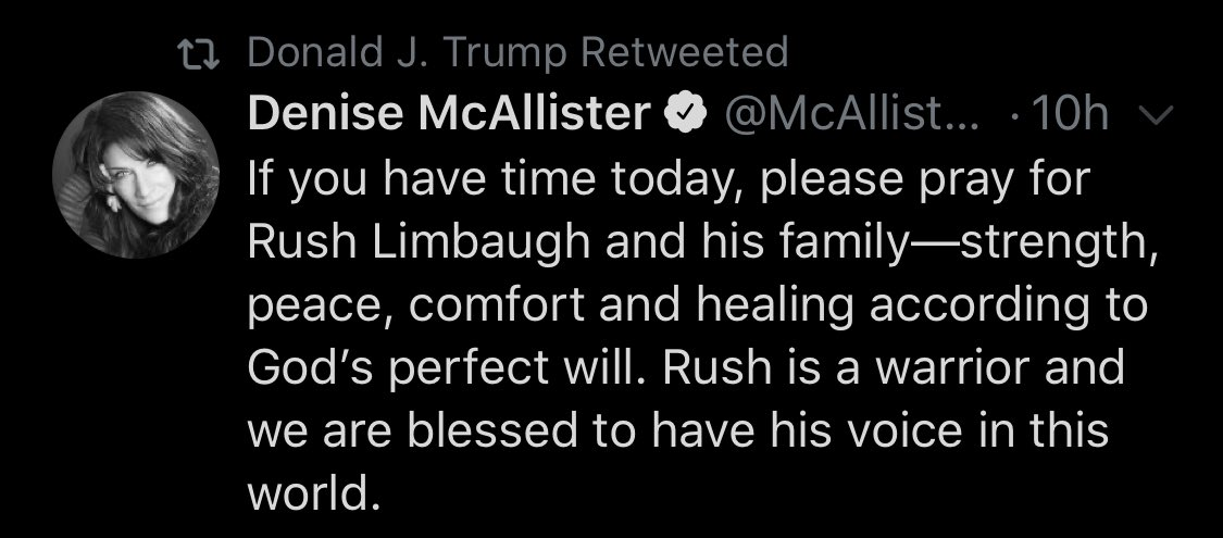 The president hasn't acknowledged that his country surpassed 100,000 Covid deaths today but he does want you to pray for Rush Limbaugh
