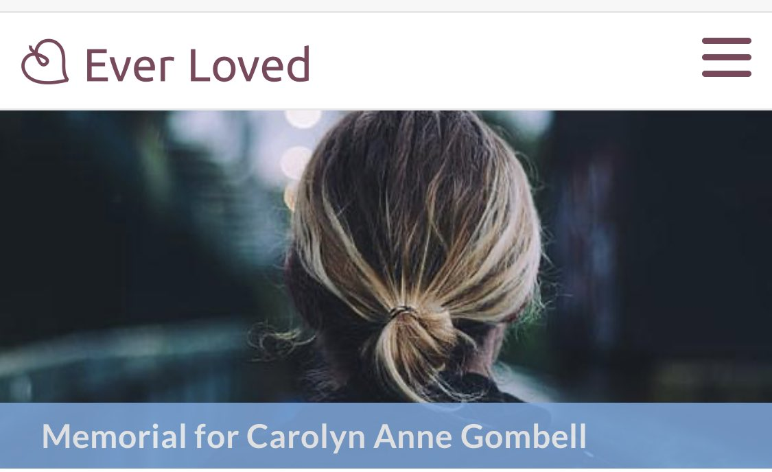 Many people are saying Zuckerberg and @Facebook were accomplices to @realDonaldTrump in the murder of #CarolynGombell. When will there be #JusticeForCarolyn    https:// everloved.com/life-of/caroly n-gombell/obituary/  … <br>http://pic.twitter.com/OQjYWchOgj