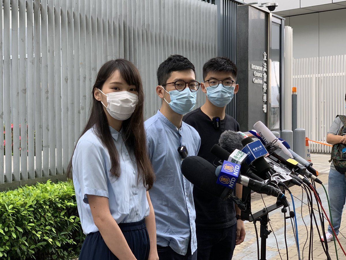 """.@demosisto says the #US' likely suspension or abolishment of #HongKong's zero tariff status & other sanctions are a """"tragic but necessary step"""", saying it's #Beijing who """"sold out HKers"""" with the #NationalSecurityLaw. @joshuawongcf calls on BJ to stop implementing the lawpic.twitter.com/qkvshgrrKK"""