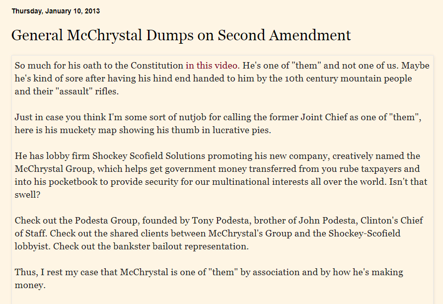 39/ While McChrystal Group claims to not be a lobbying firm, it's associations with such groups contradict this. Look at this blog from 2013 highlights and crossover between McChrystal Group and Podesta Group! Sourcehttp://therepublicanmother.blogspot.com/2013/01/general-mcchrystal-dumps-on-second.html…pic.twitter.com/P9eGIfF9Ck