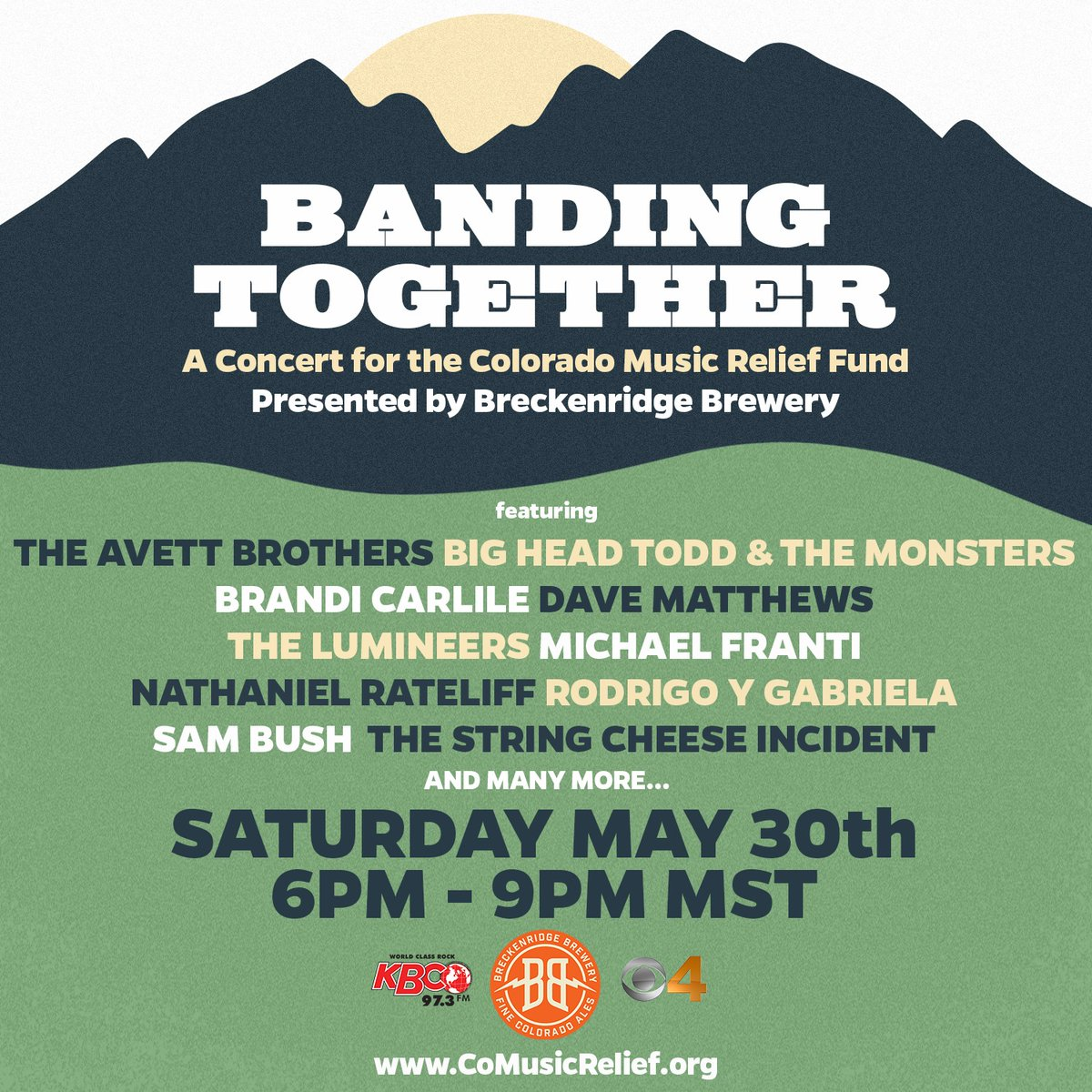Band Together this weekend in support of the Colorado Music Relief Fund by tuning into live performances by The String Cheese Incident, Nathaniel Rateliff, Michael Franti, The Lumineers + more. comusicrelief.org