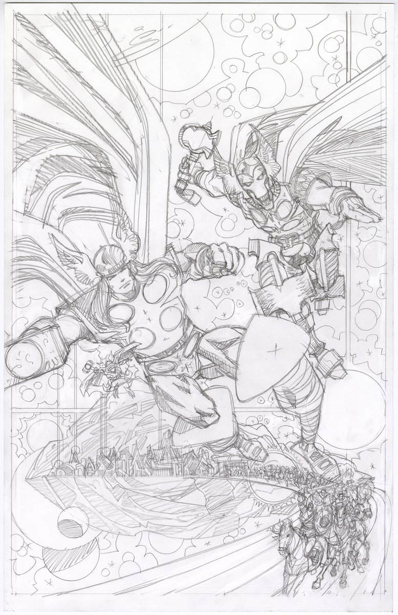 Thor, Beta Ray Bill, and Throg. Finished pencils. 17.2 x 11.1. 2020.  Next up?  Inks. <br>http://pic.twitter.com/ePe9jezDwu