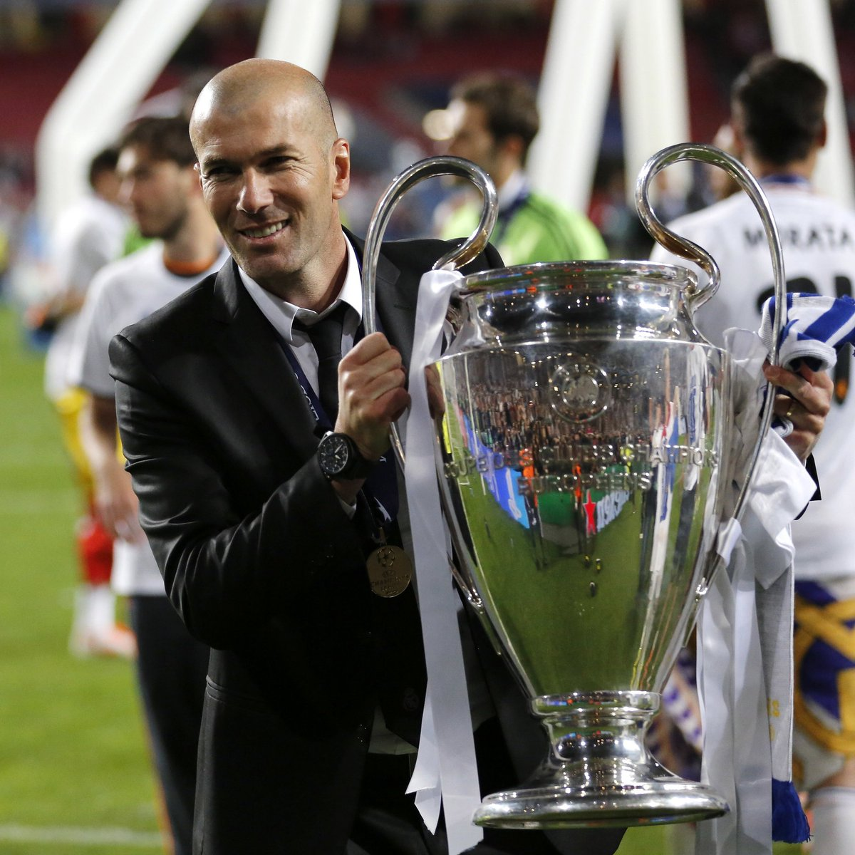 Real Madrid manager, Zinedine #Zidane made history on this day, four years ago.    1st French manager to win the #UCL  2nd man to win the trophy with Real Madrid as both a player and a manager  7th man to win the European Cup as a player & manager  #ThursdayMotivationpic.twitter.com/8nJBZoThSk