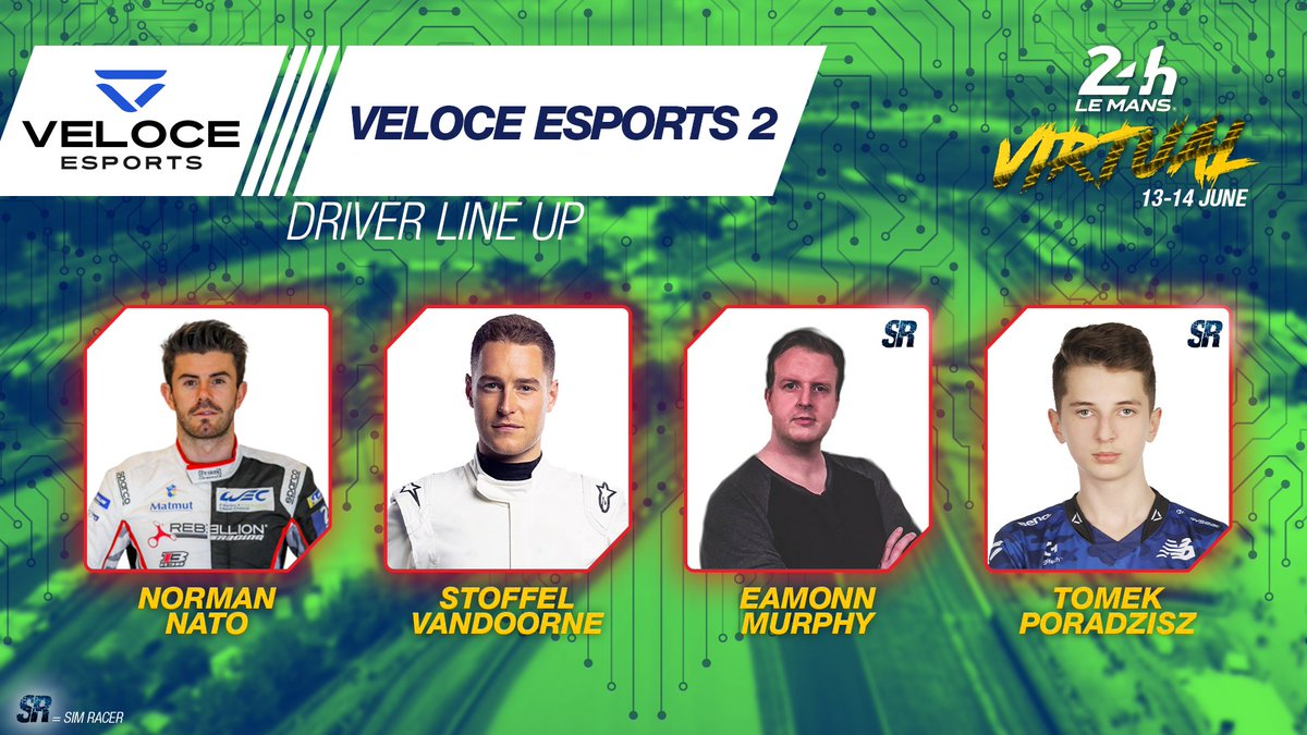 The second car entered by @VeloceEsports will be driven by @NatoNorman, @svandoorne, Eamonn Murphy and Tomek Poradzisz. Come on, next up please!  #WEC #LeMans24Virtual https://t.co/RpGb9pk4ps