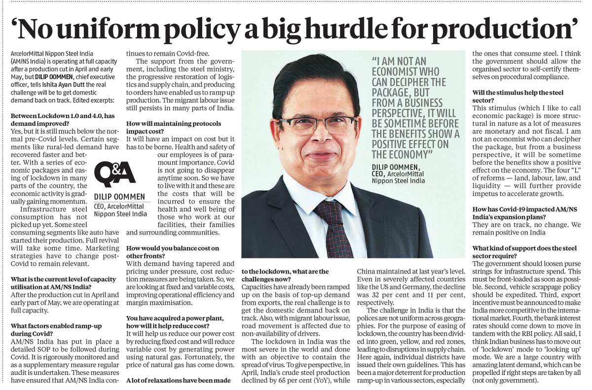 AM/NS India CEO @dilipoommen discusses how support from @SteelMinIndia, restoration of supply chain & strict adherence to safety norms have enabled AM/NS India to ramp up production. The next challenge is the revival of domestic demand. Read the @bsindia interview here. https://t.co/PUrjHEjAqa