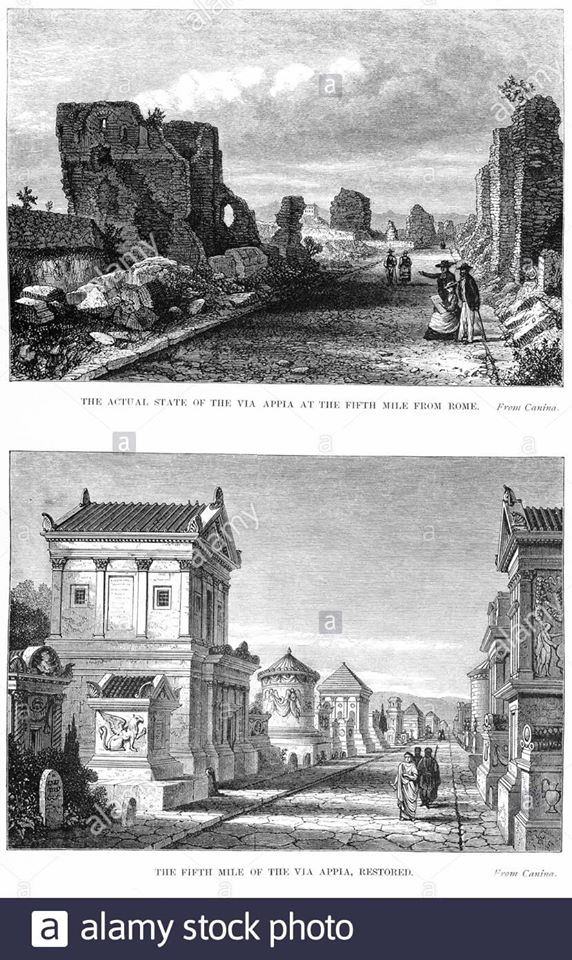 Old engraving of the Appian Way, before and after