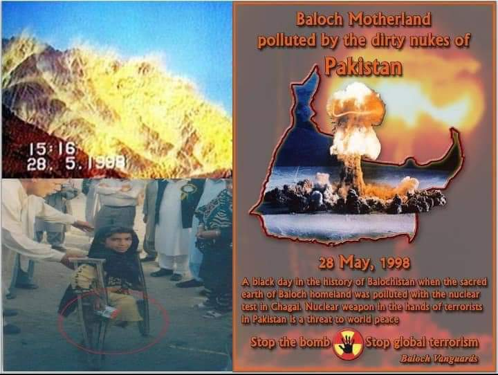 #28MAYBLACKDAY  Agriculture is destroyed, mother giving abnormal babies, skin diseases are common, hundreds of inhabitants of that area had died due to cancer . Balochistan is being used a nuclear waste dumping zone and it's people are living a miserable life. pic.twitter.com/KOKVdW0iNS