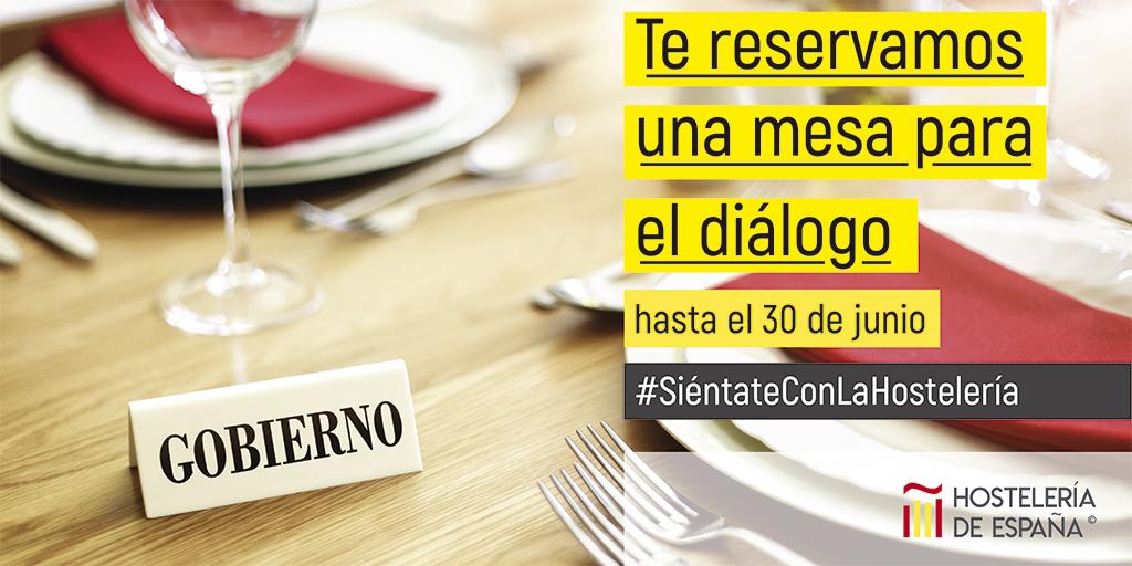 Hoy, la cadena de valor de la hostelería se unirá a la iniciativa: #SiéntateConLaHostelería para visibilizar la necesidad de que el #Gobierno se siente con los hosteler@s y escuche sus demandas. ¡Reserva tu mesa vacía para el diálogo! ¡Contamos contigo! ¿verdad?❤️
