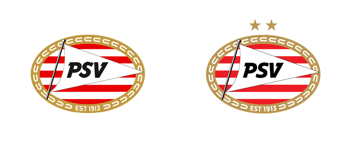 A lot of clubs are rebranding at the moment. Others are merely working on the details. As Dutch giants @PSV. They have updated their crest slightly with the adding of two stars which represents their 24 league titles. And a change of the font of the letters. #PSV #eredivisiepic.twitter.com/dZh7MIwGVI