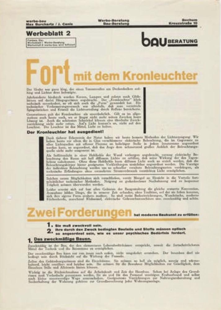 Die erste moderne Werbeagentur in Deutschland, Bochum, 1924. Durch Max Burchartz (1887-1961) und den Buchhändler Johannes Canis (1895-1977) wird die werbe-bau gegründet.  #werbeagentur #bauhaus #typographie #farbgestaltung #folkwang #geschichte #ruhrgebiet #bochum #essen