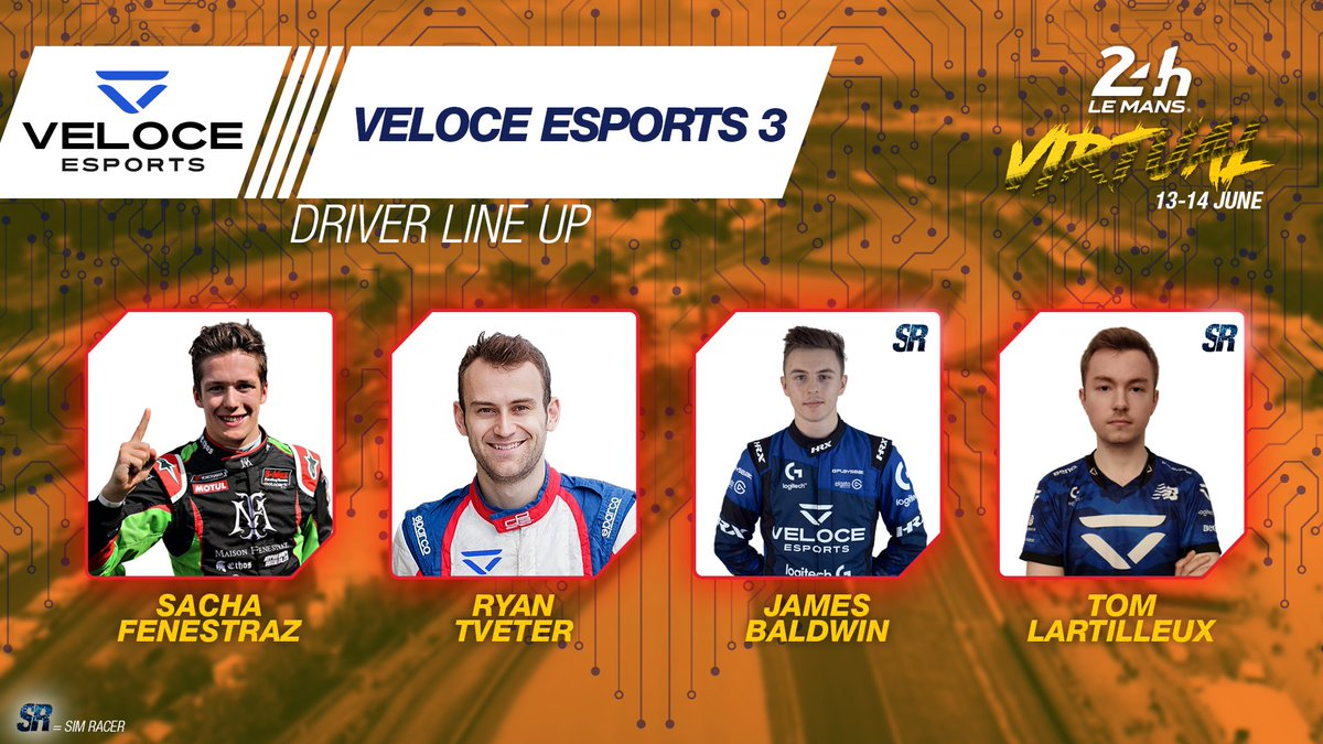 And the last @VeloceEsports entry features @sachafenestraz @RyanTveter with sim racers James Baldwin and Tom Lartilleux. Who's next? 🔥  #WEC #LeMans24Virtual https://t.co/67gef5kuXg