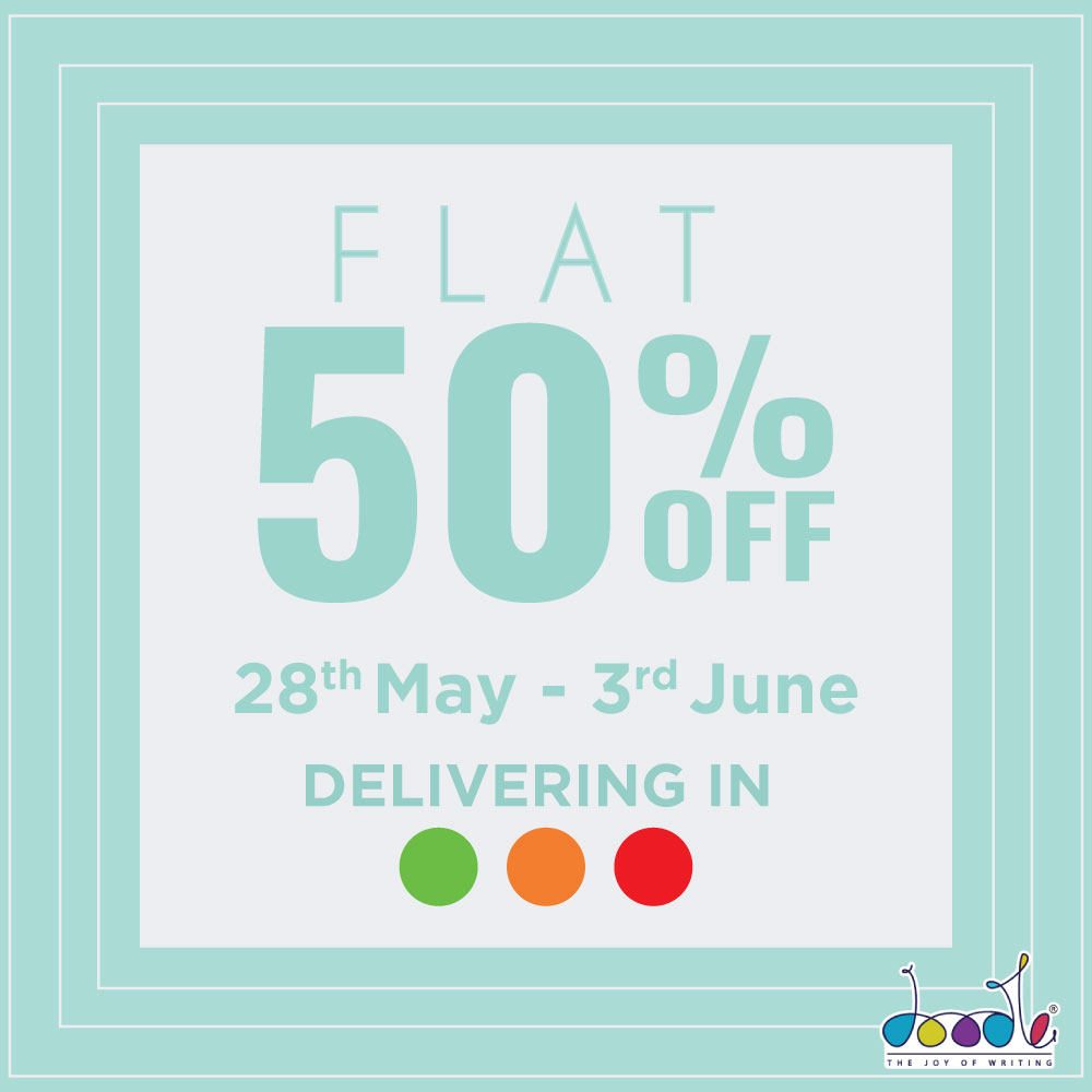 Treat yourself with some Doodle love and enjoy flat 50% + Special offers sitewide! Hurry, offer ends soon.   #supersale #50%OFF #specialoffers #diaries #pens #planners #makeuppouches #totebags #limitedperiod