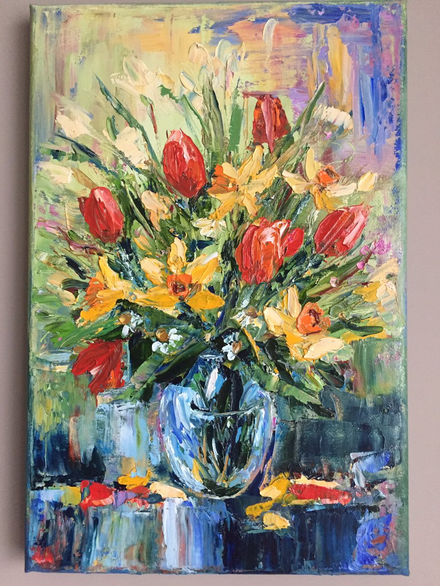 Spring Flowers Bouquet. Original Oil Painting on Canvas. Impressionist. Still life. https://etsy.me/3c6nc8Z   #flowersforyou #ArtLovers pic.twitter.com/bpJbeba76u