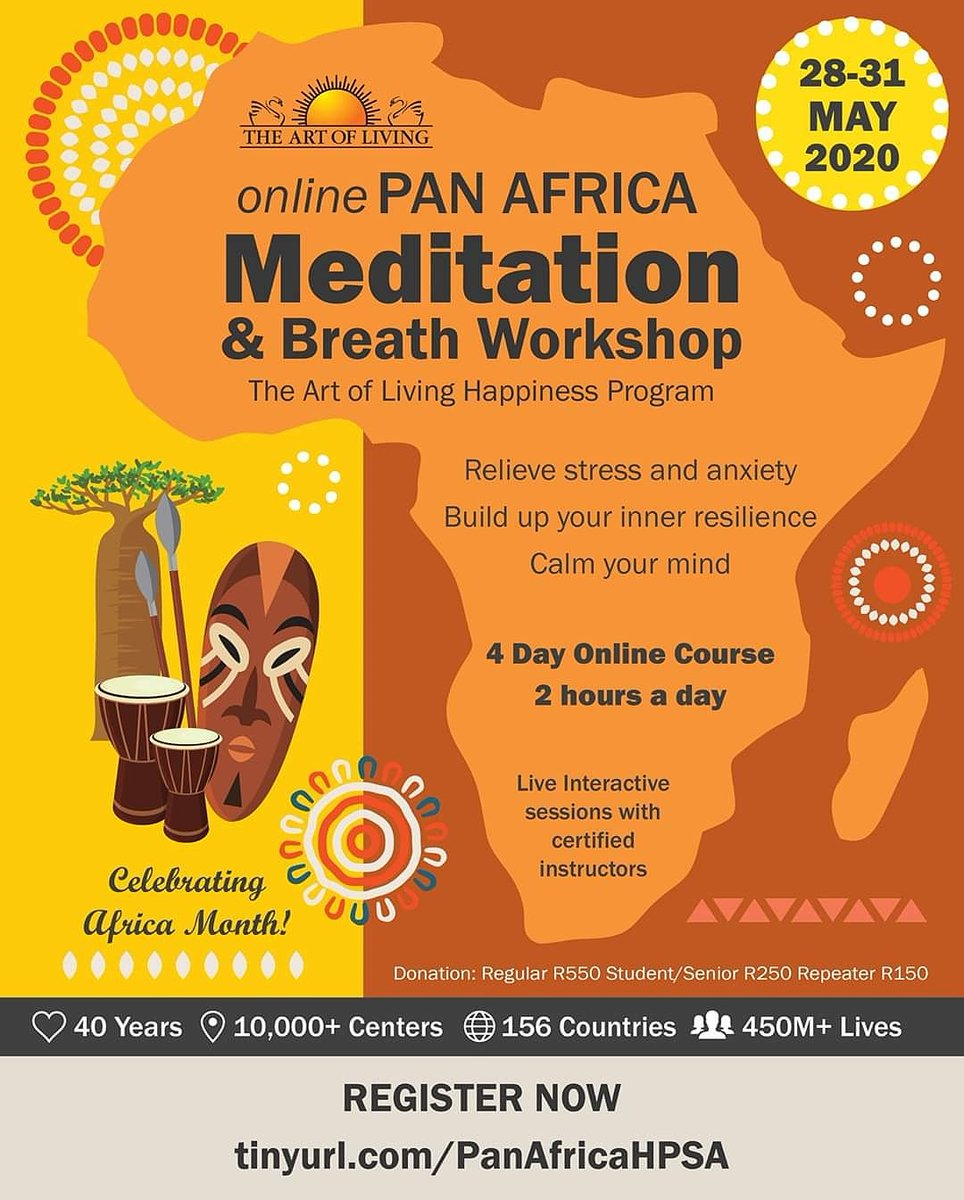 The Pan Africa Online Meditation and Breath Workshop begins TODAY!   Have you registered? http://tinyurl.com/PanAfricaHPSA   #artofliving #happiness #breath #Meditation #africawide #africapic.twitter.com/MpuSiFsRyQ