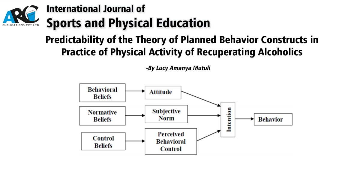 Predictability of the Theory of Planned Behavior Constructs in Practice of Physical Activity of Recuperating Alcoholics - By Lucy Amanya Mutuli  DOI: http://dx.doi.org/10.20431/2454-6380.0602001… International Journal of Sports and Physical Education #Sports #PhysicalEducation #PhysicalActivitypic.twitter.com/CHrtN1yMjo