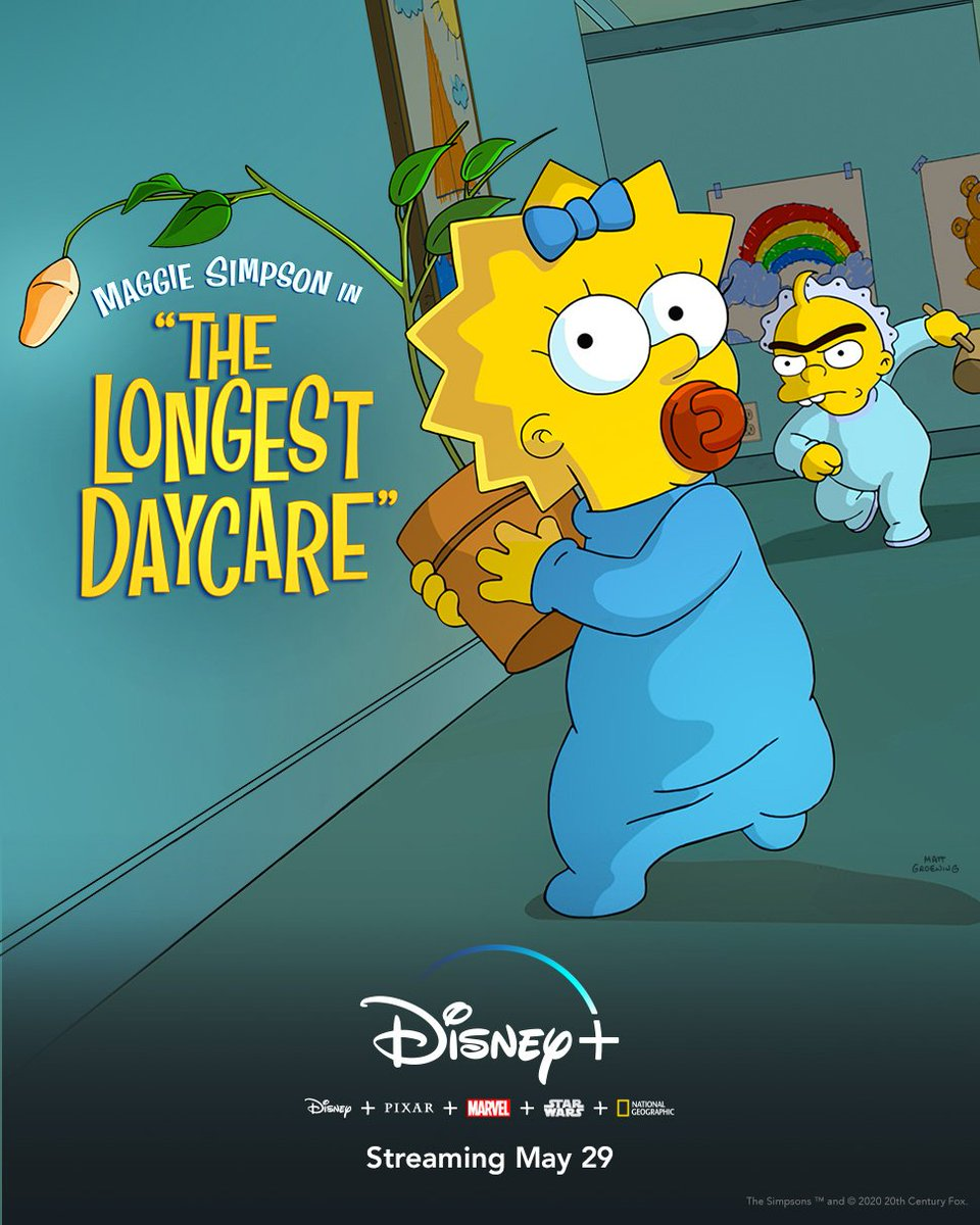 "The Oscar-nominated animated short film from #TheSimpsons, Maggie Simpson in ""The Longest Daycare,"" is coming May 29th 2020 to #DisneyPlus    #disney #animation #maggiesimpson #streaming #Oscars #daycare   Source: Disneypic.twitter.com/CHTAc9qytk"