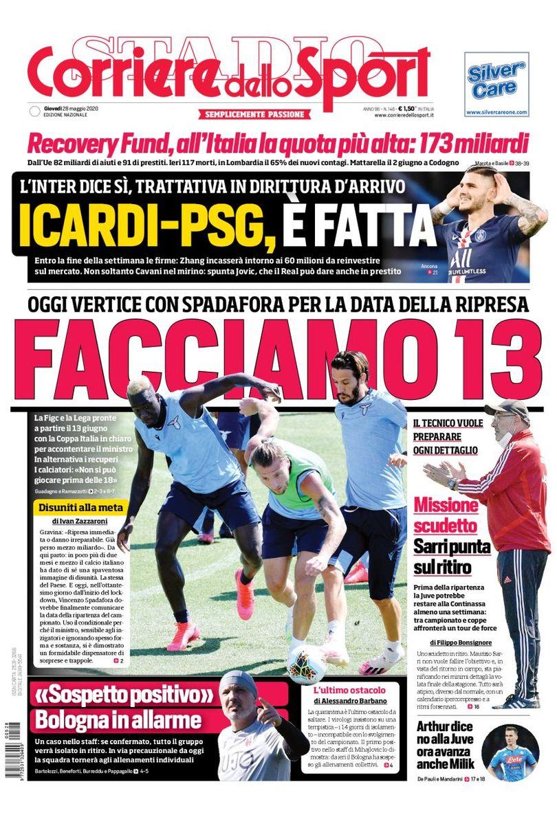 Front page of #Corsport  2020-05-28   #edicola #primapagina #Juventus #Inter #Milan #Roma #Napoli #Laziopic.twitter.com/LsYyLHeDcX