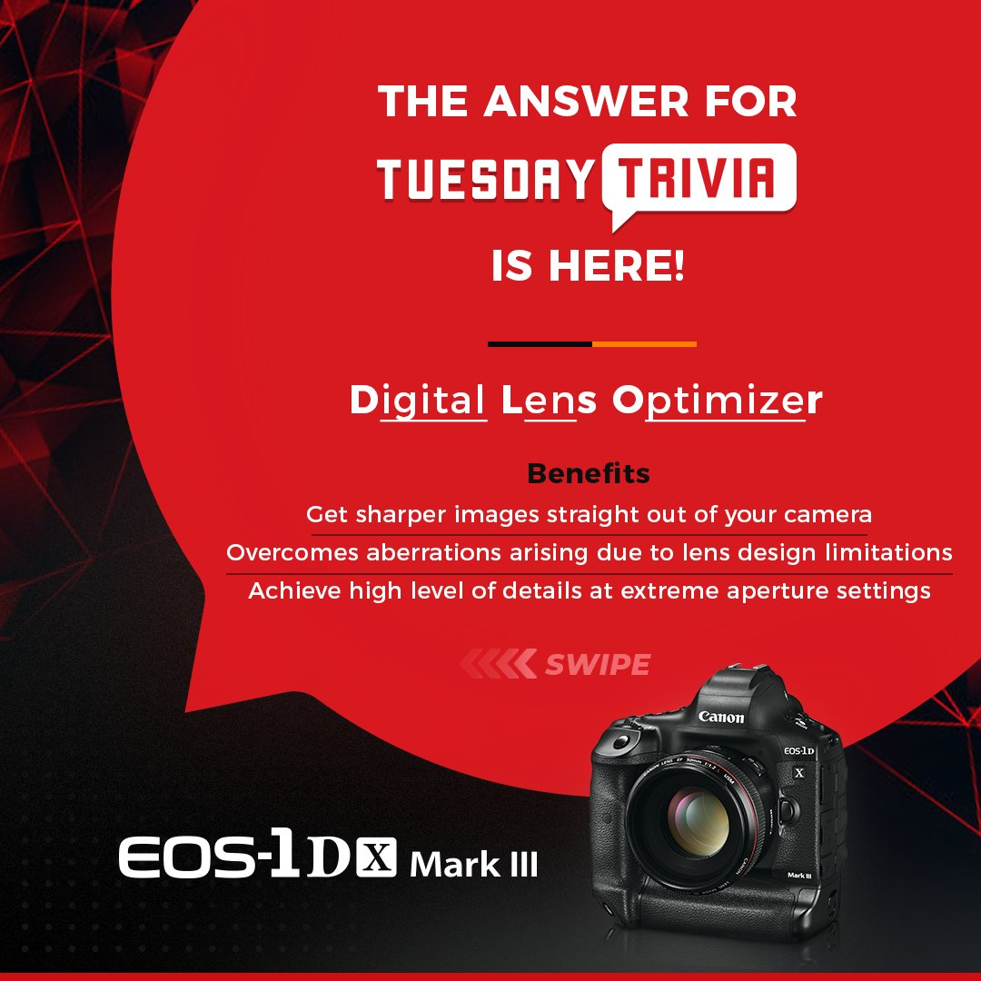 The Digital Lens Optimizer in Canon EOS-1D X Mark III provides photographers with maximum image quality and greater flexibility, thanks to its ability to correct a range of optical aberrations and loss of resolution.  Did you answer it right?  #TuesdayTrivia #Riddle #CanonEOS pic.twitter.com/reoJWhWy9A