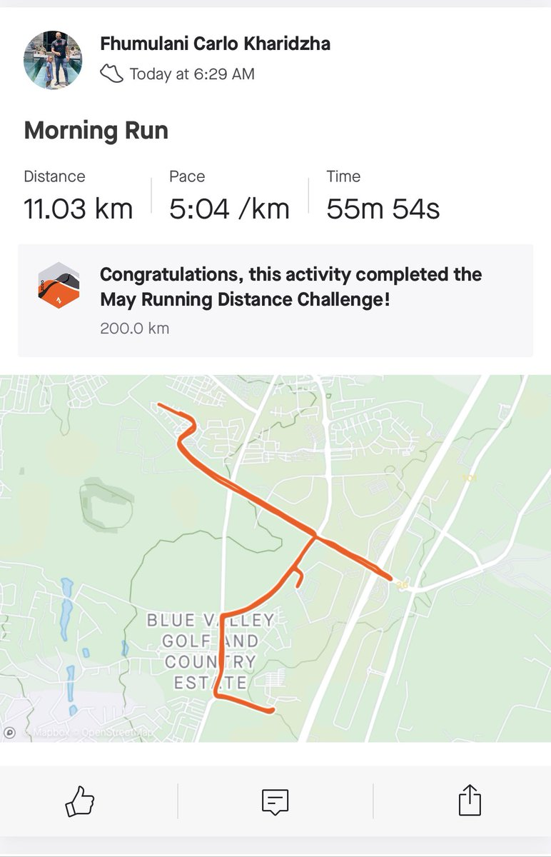 Congratulations to myself... Today run completed May running distance challenge of 200km.  Is cold  outside  #FetchYourBody2020  #lifestyle pic.twitter.com/RlnJnvBacn