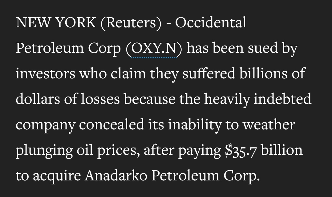 $OXY >>Occidental is sued by shareholders, bondholders over Anadarko merger reut.rs/2AhguPX