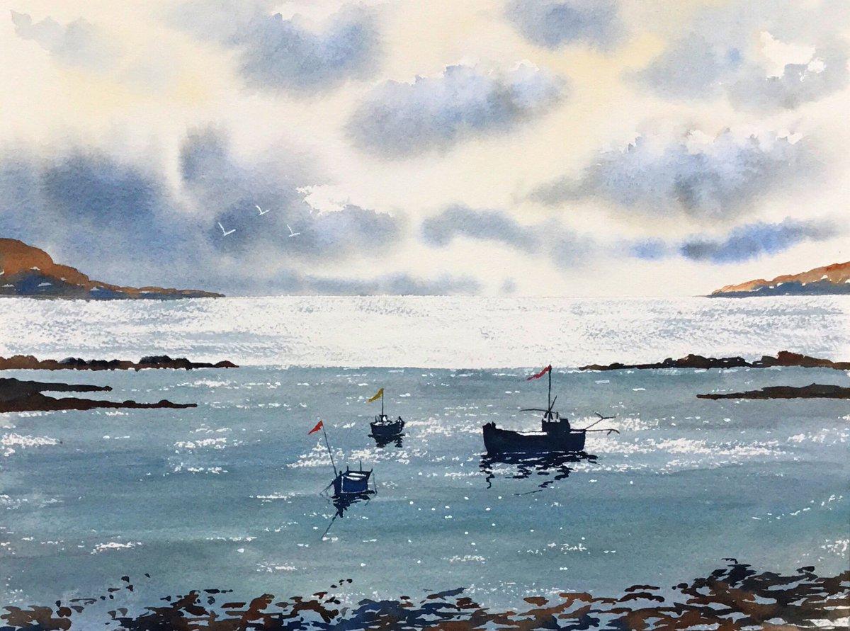"Watercolour titled ""Across the bay "" ....#art #watercolour #dublin #ireland #sea #beautypic.twitter.com/5WCTfI2kJD"