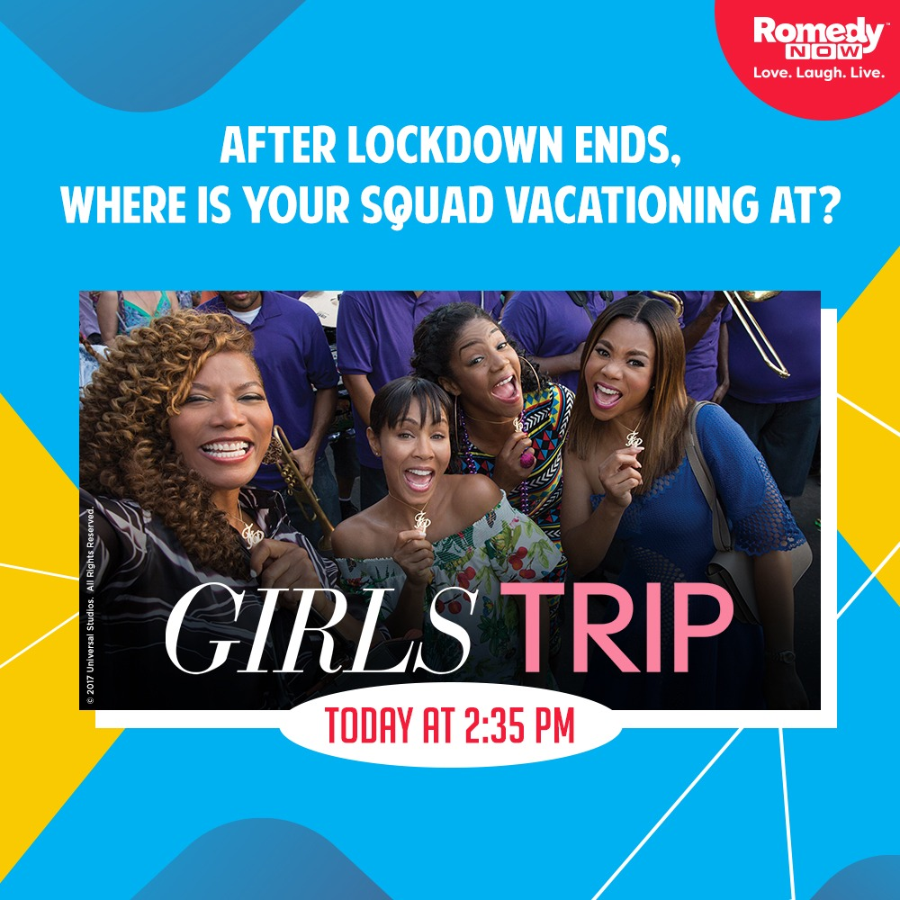 Gonna be long before you can jet-set to your next holiday destination! Before that, watch Girls Trip today at 2:35 PM for tips on what NOT to do on a vacation!  #GirlsTrip #BeHomeBeHappy #GirlsNightpic.twitter.com/uR0NxTZ7F7