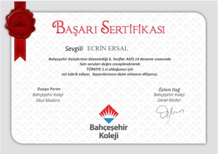 Tüm kampüslerimizde eş zamanlı uygulanan AGİS-14 sınavında 6. sınıf öğrencimiz Ecrin ERSAL Türkiye 1. si olmuştur.Öğrencimizi ve emeği geçen öğretmenlerimizi tebrik ederiz. 👏👏🥇 https://t.co/Uab2ai0VKa