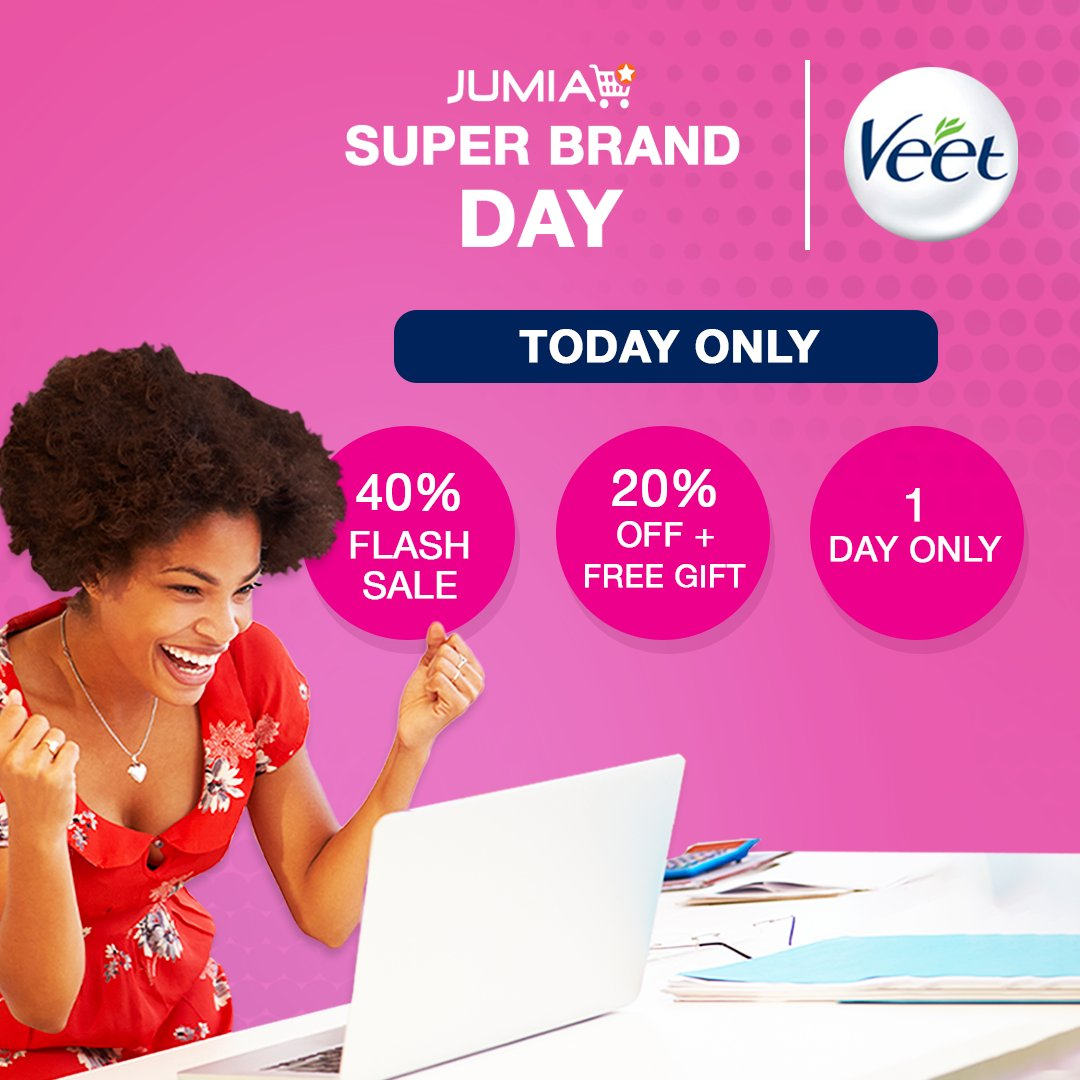 🔔 🔔 SHOP NOW 🔔🔔  The Veet Jumia Super Brand Day offers are finally available for today only!.   Don't miss out!.  #JustVeetIt #JumiaSuperBrandDay https://t.co/tHRkubWsfZ